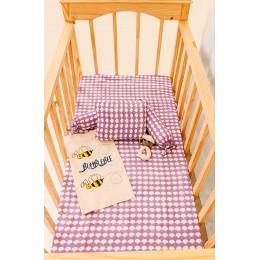 Pink Dreamy Ele Hand Block Print Crib Bedding Set with Dohar Blanket