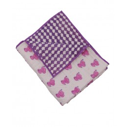 Pink Dreamy Ele Hand Block Print Hand Quilt