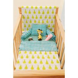 Yellow Pear Hand Block Print Crib Bedding with Dohar Blanket