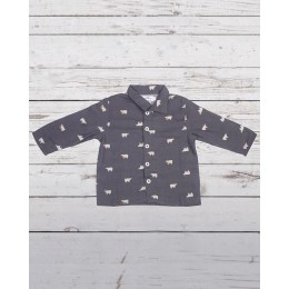 Bear Print Flannel Night Suit