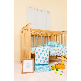 Blue Dreamy Ele Hand Block Print Crib Bedding Set with Hand Quilt