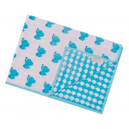 Blue Dreamy Ele Hand Block Print Dohar Blanket