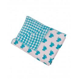Blue Dreamy Ele Hand Block Print Hand Quilt