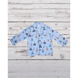 Blue Tribal Tent Night Suit