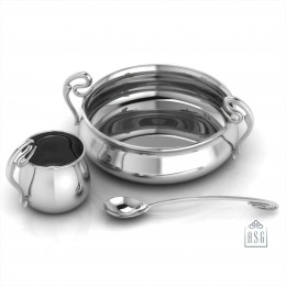 Sterling Silver Dinner Set for Baby and Child - Curved Feeding Set