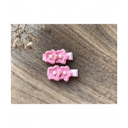 Double Flower Aliigator Clips - Pink