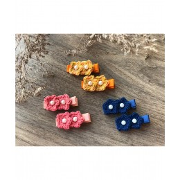 Double Flower Alligator Clips - Set Of 3 - Combo A