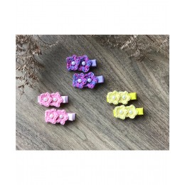 Double Flower Alligator Clips - Set Of 3 - Combo D