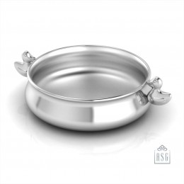 Sterling Silver Bowl for Baby and Child - Duck Feeding Porringer