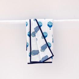 Fly Away Blue Hand Block Print Dohar Blanket