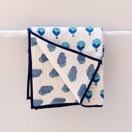 Fly Away Blue Hand Block Print Hand Quilt