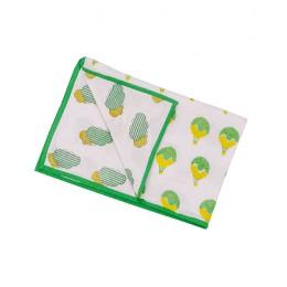 Fly Away Green n Yellow Hand Block Print Dohar Blanket