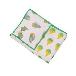 Fly Away Green n Yellow Hand Block Print Hand Quilt