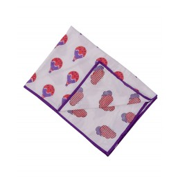Fly Away Purple Peach Hand Block Print Dohar Blanket