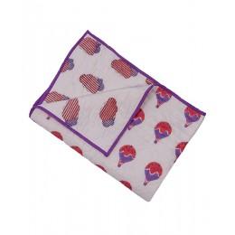 Fly Away Purple Peach Hand Block Print Hand Quilt