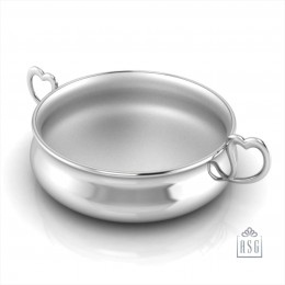 Sterling Silver Bowl for Baby and Child - Heart Feeding Porringer