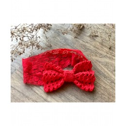 Lacey Bow Lace Hairband - Red