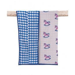 Lakhdi ki Kathi Pink Blue hand block print Dohar Blanket