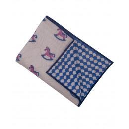 Lakhdi ki Kathi Pink Blue hand block print hand quilt