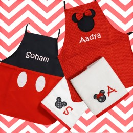 Mickey and Minnie - Aprons Set for siblings