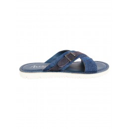 Navy Blue Big Solid Criss Cross Flip Flop