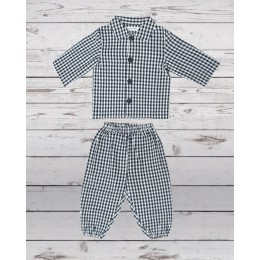 Night Suit Black White Check