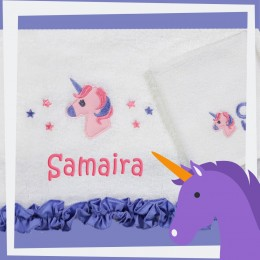 Unicorns N Ruffles Bath n Face towel set