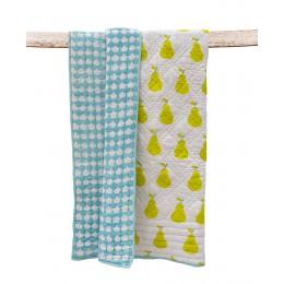Yellow Pear Hand Block Print Hand Quilt