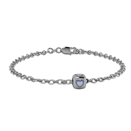 Sterling Silver Babykubes Gifting Heart Dice Bracelet for Baby and Child