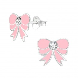 Baby Pink Bow Earrings