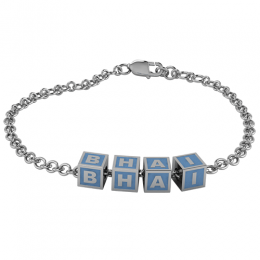 Sterling Silver Baby Kubes BHAI Square Bracelet - Blue