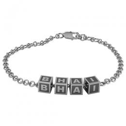 Sterling Silver Baby Kubes BHAI Square Bracelet - Oxidised