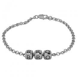 Sterling Silver Baby Kubes BRO Dice Bracelet - Oxidised