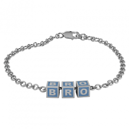 Sterling Silver Baby Kubes BRO Square Bracelet - Blue