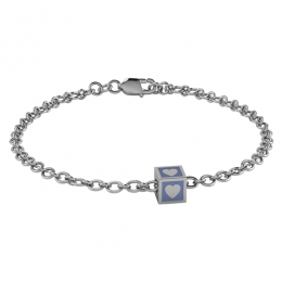 Sterling Silver Babykubes Gifting Heart Square Bracelet for Baby and Child