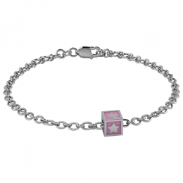 Sterling Silver Babykubes Gifting Star Square Bracelet for Baby and Child