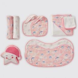 Bundle of Love - Organic Muslin Gift Hamper (Celestial - Pink)
