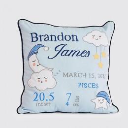 Celestial Blue Birth Stat Pillow