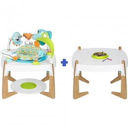 Evenflo Exersaucer 2-in-1 Activity Centre + Art Table, GleefulSea, 360SeatSpin with Base