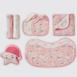 Favorite Essentials - Organic Muslin Gift Hamper (Celestial - Pink)
