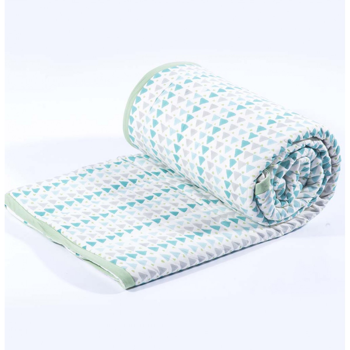 Geometry blue single quilt