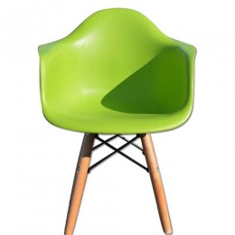 Kids Arm Chair Green With Wood Base