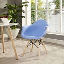 Kids Arm Chair Blue with Wood Base