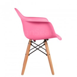 Kids Arm Chair Pink with Wood Base