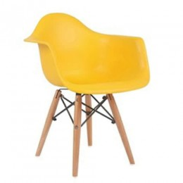 Kids Arm Chair Yellow with Wood Base