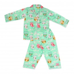 Mint green kewl owl nightsuit - Kids