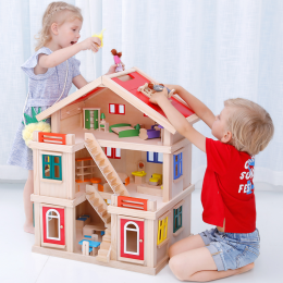 Onshine Wooden Doll House with Furniture & Dolls for Age 3+