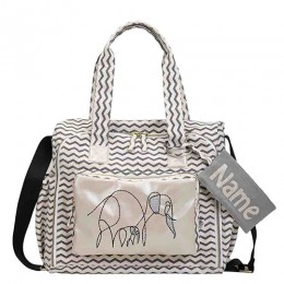 Organic Printed Elephant Diaper Bag