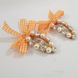 Plaid Bow and Gems Hairclips - Orange