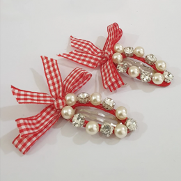Plaid Bow and Gems Hairclips - Red